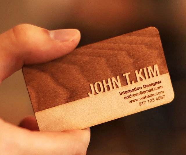 Engraved Wooden Business Cards Interwebs