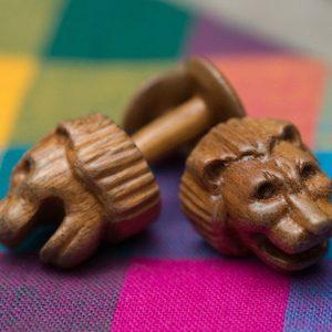 Hand Carved Wooden Cufflinks