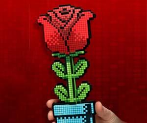 Pixelated 8-Bit Rose