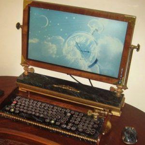 Steampunk Monitor and Keyboard
