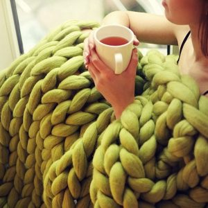 Super Chunky Hand Knit Blanket