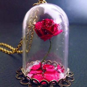Beauty & The Beast Rose Vial Necklace