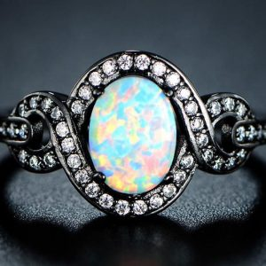 Black Rhodium Plated White Opal Ring