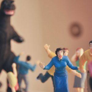 Horrified B-Movie Victims Playset