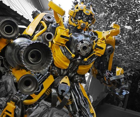 Recycled Metal Transformer Statue