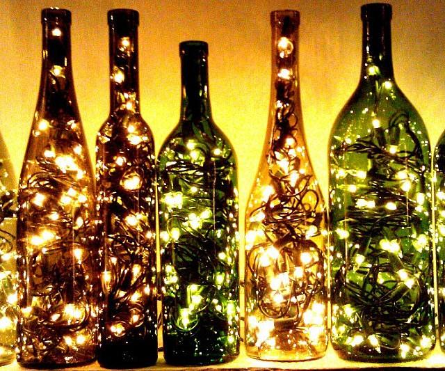 Recycled Wine Bottle Light INTERWEBS