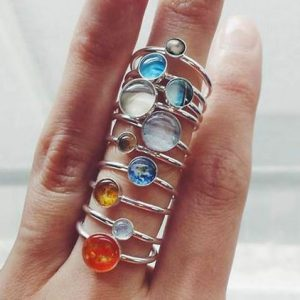 Solar System Silver Rings