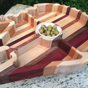 Wood Carved Millennium Falcon Platter