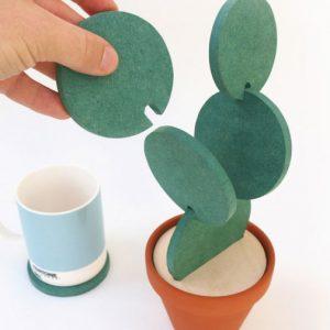 Cactus Plant Shaped Coaster Set
