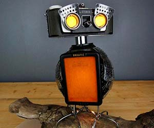 Recycled Camera Owl Lamp