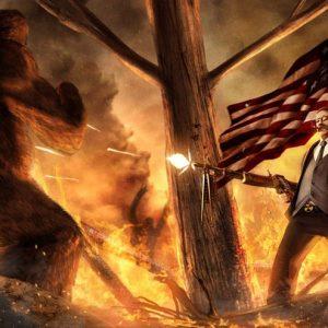 Roosevelt vs. Bigfoot Painting