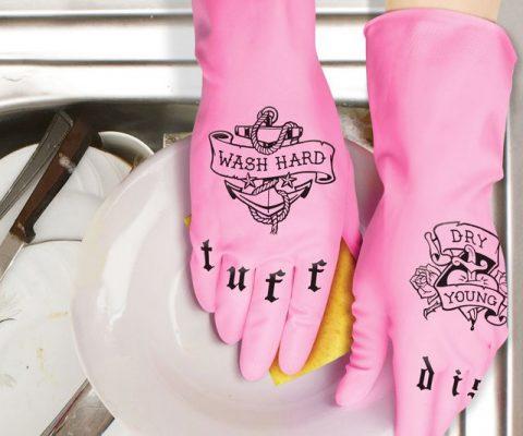 Tattooed Dishwashing Gloves
