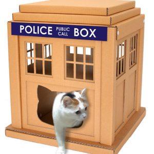 Cardboard TARDIS Cat House