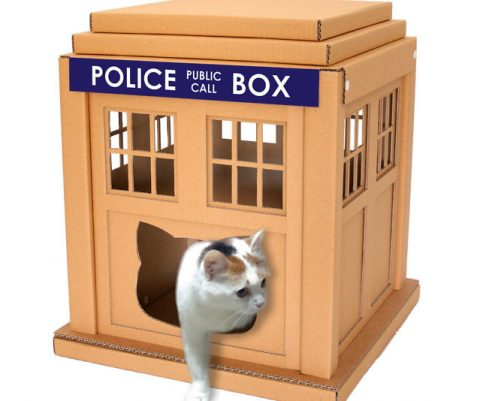 Cardboard TARDIS Cat House