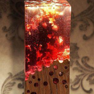 Blazing Fire Acrylic Glass/Wood Lamp