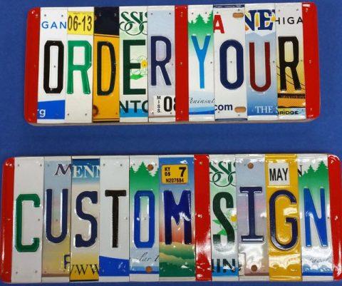 Custom License Plate Sign
