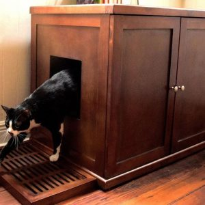 Refined Wood Litter Box Cabinet