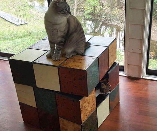 Rubik's Cube Cat Bed