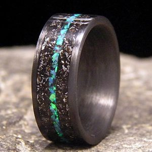 Meteorite Shavings Wedding Ring