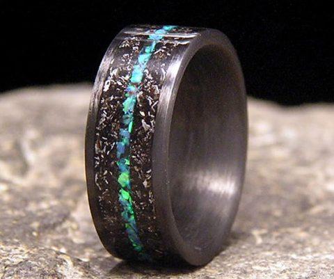 Meteorite Shavings Wedding Ring