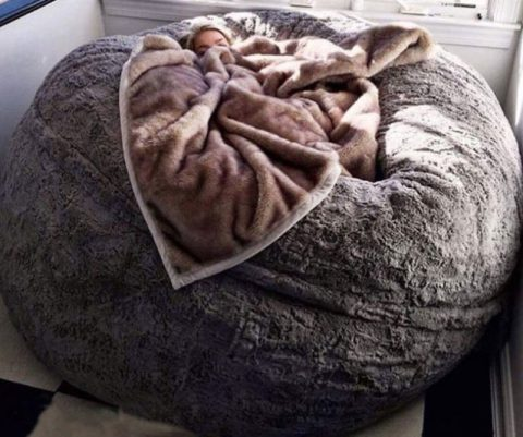 Giant Faux Chinchilla Beanbag