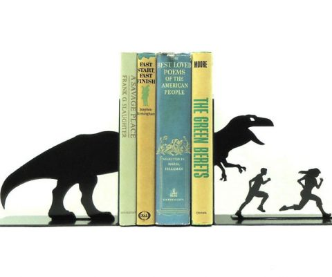 T-Rex Attack Metal Bookends