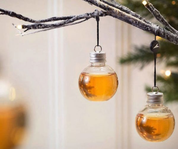Whiskey Filled Christmas Tree Ornaments