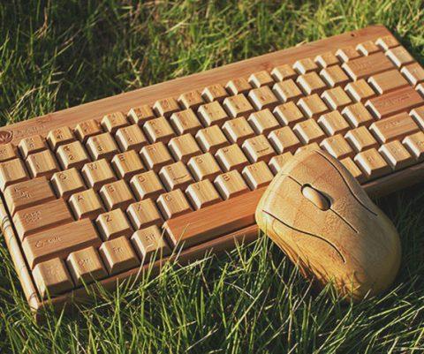 Wireless Wooden Keyboard & Mouse