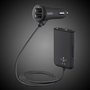4-USB Front & Back Seat Car Charging Hub