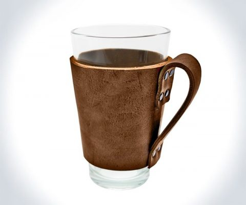 Leather Pint Glass Sleeve with Handle