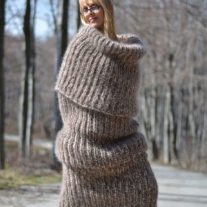 Oversized Mohair Tube Scarf Dress