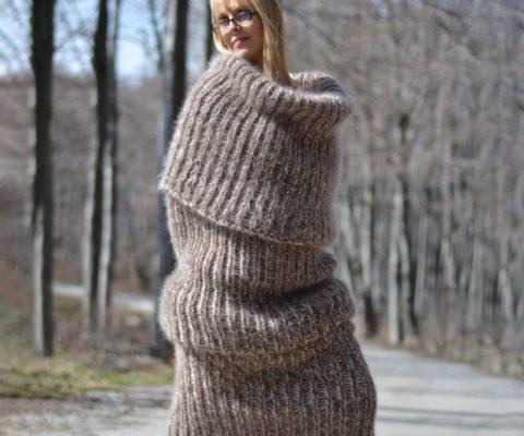Oversized Mohair Tube Scarf Dress