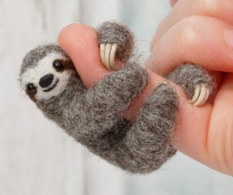 Mini Sloth Felt Jewelry
