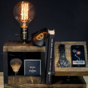 Wood Bedside Utility Storage Box Lamp