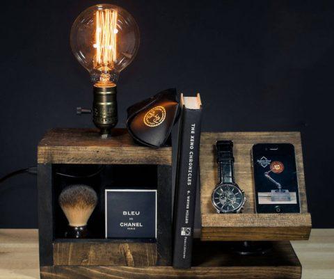 Wood Bedside Utility Storage Box Lamp