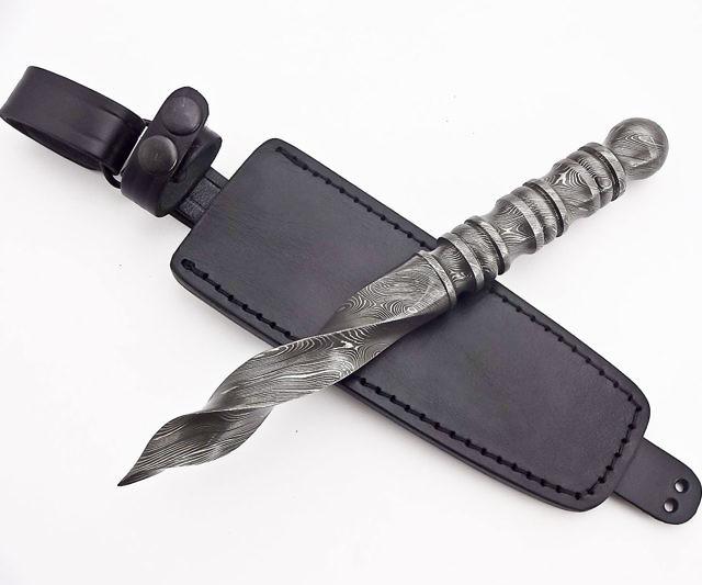 Damascus Double Round Edge Knife