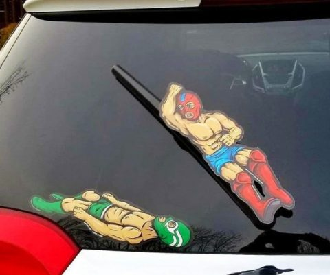 Brawling Wrestlers Windshield Wipers