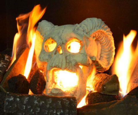 Fireproof Fireplace Skull Gas Log