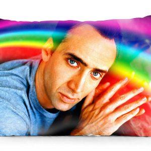 Nicolas Cage Rainbow Pillow