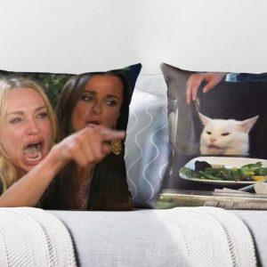 Woman Yelling At Cat Meme Throw Pillows