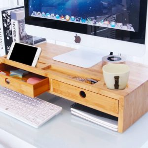 Desktop Monitor Stand Riser With Drawers