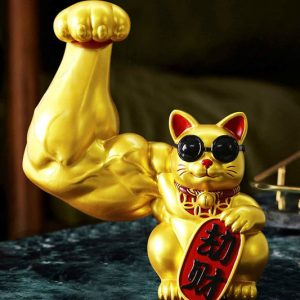 Strong Arm Maneki-Neko Good Luck Cat