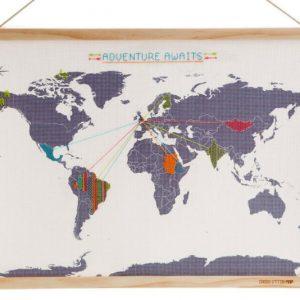 DIY Cross Stitch World Travel Map