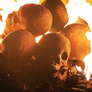 Fire Pit Ceramic Skulls